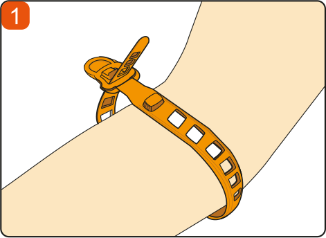 Thread the strap through the buckle round the patients arm.