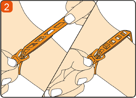 Using two hands, or single-handedly pull the tourniquet tightly, and latch the strap onto the button to lock the strap in place, to ensure adequate grip and vein occlusion. Double lock for security.